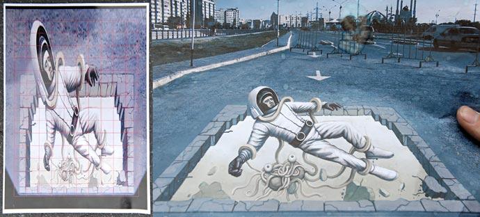 Расчерченный в клетку эскиз для создания 3D рисунка на асфальте и как космонавт выглядит в перспективе