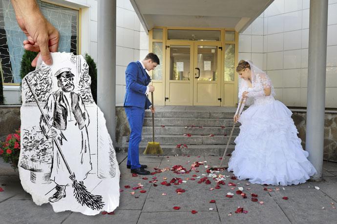 Свадьба - уборка территории от лепестков роз