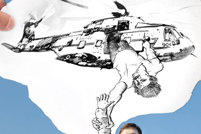 Свадьба - вертолет (фрагмент) - рисунок