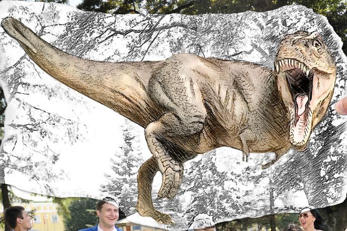 Свадьба с динозавром (фрогмент) - рисунок