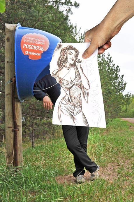 Карандаш против камеры - идея Бен Хайне, фотограф Сергей Юрченко, художник Дэвид Рэдфорд