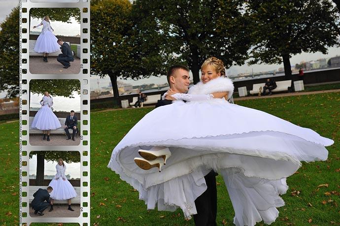 Коллаж с фотопленкой - Свадьба.