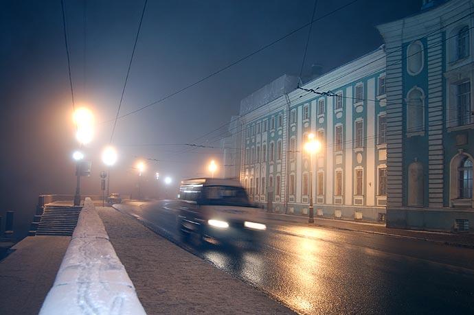 Ночная съемка зимой.