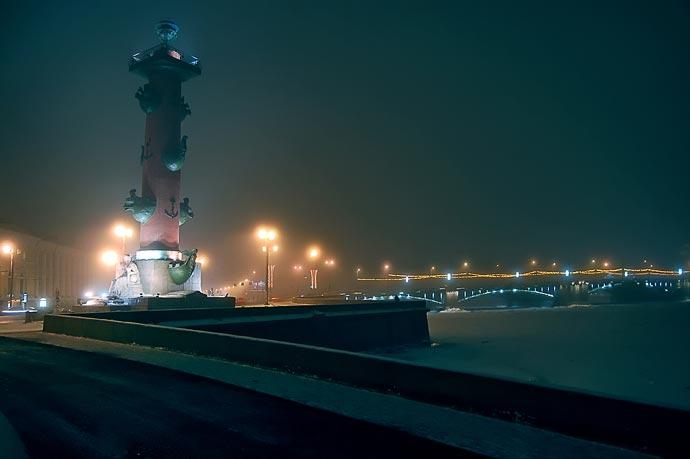 Ночная съемка - туман в январе